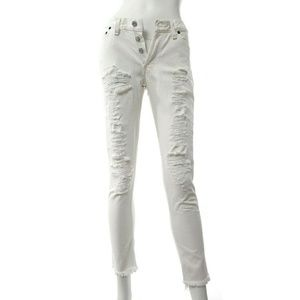 Re/Done Levi's White Distressed Skinny Jeans